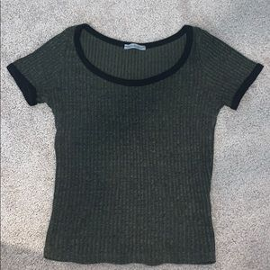 Olive Green Ribbed Top Charlotte Russe